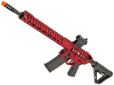 EMG F-1 Firearms UDR-15 AR15 2.0 eSilverEdge Full Metal Airsoft AEG Training Rifle (Model: Red / RS3 Stock / 400 FPS)