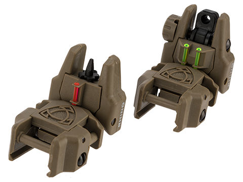 APS Gen 2 Rhino Flip-up Sight Package with Fiber Optic Inserts (Color: Tan)
