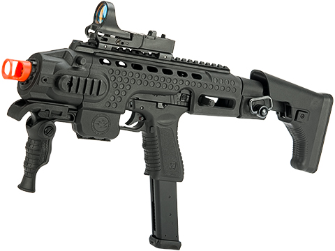 APS Action Combat Carbine Complete Gas Blowback Airsoft Compact SMG Rifle (Model: Black Full Auto)