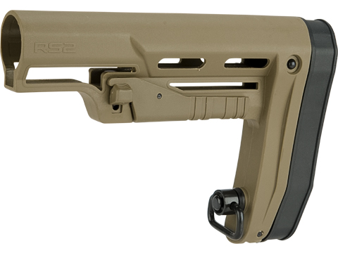 APS RS2 Low Profile Adjustable Stock for M4 Series Airsoft AEGs (Color: Dark Earth)