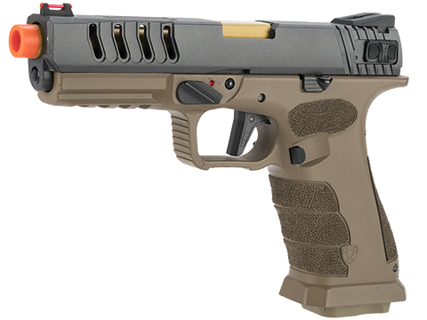 APS XTP Shark Full Automatic Select-Fire  Co2 Gas Blowback Airsoft Pistol (Color: Tan / Stippled)