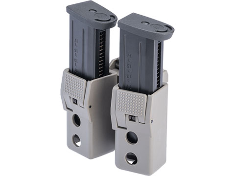 Quantum Mechanics Locking Double Stack 9mm / .40 Magazine Carrier (Model: Double Magazine / GLOCK Magazines / Brown Gray)