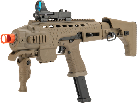 APS Action Combat Carbine Complete Gas Blowback Airsoft Compact SMG Rifle (Model: Tan Full Auto)