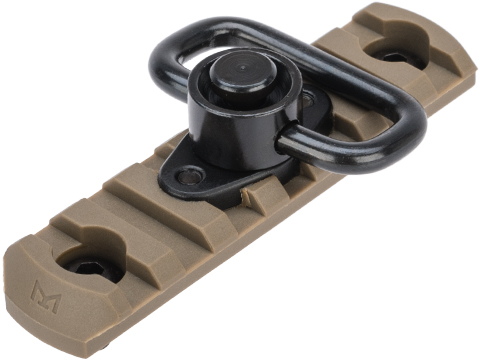 APS 7-Slot M-LOK Rail Segment w/ QD Sling Swivel (Color: Dark Earth)