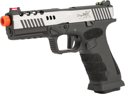 APS XTP Dragonfly X Co2 Powered Airsoft Pistol with Hand Stippled Frame and Polished Dual-Tone Slide