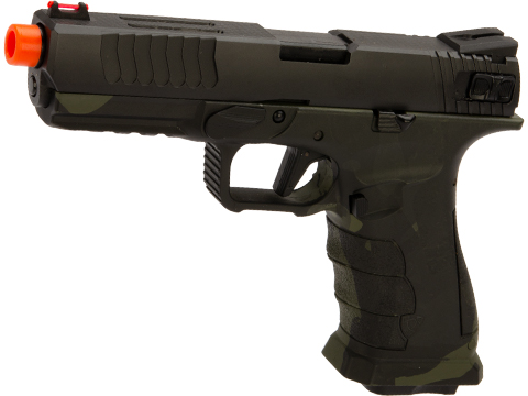 APS XTP Shark Full Automatic Select-Fire Full Metal Co2 Gas Blowback Airsoft Pistol (Color: Two-Tone Black + Black Multicam / Standard)