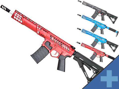 EMG F-1 Firearms SBR AR15 w/ eSilver Edge Gearbox Full Metal Airsoft AEG Training Rifle 350 FPS (Model: Red / Tron)