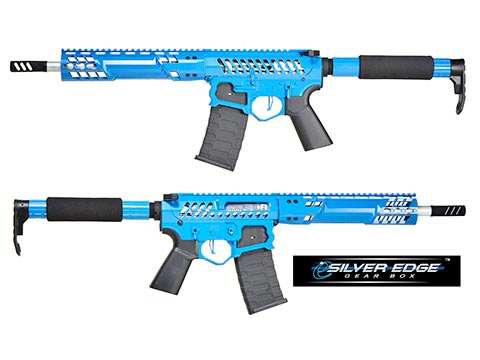 EMG F-1 Firearms SBR w/ eSilver Edge Gearbox AR15 Full Metal Airsoft AEG Training Rifle 350 FPS (Model: Blue / Tron)