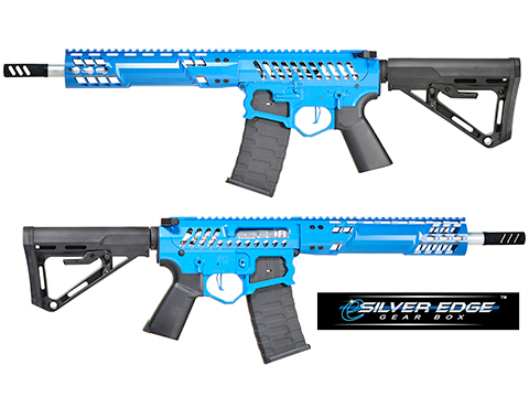 EMG F-1 Firearms SBR w/ eSilver Edge Gearbox AR15 Full Metal Airsoft AEG Training Rifle 350 FPS (Model: Blue / RS-3)