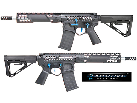 EMG F-1 Firearms SBR w/ eSilver Edge Gearbox AR15 Full Metal Airsoft AEG Training Rifle 350 FPS (Model: Black / Blue / RS-3)