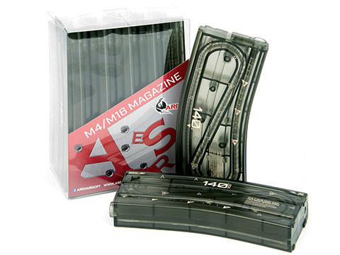 ARES 140rd Translucent M4 / M16 Mid Cap Magazine for AEG Rifles (Quantity: 5 Pack)