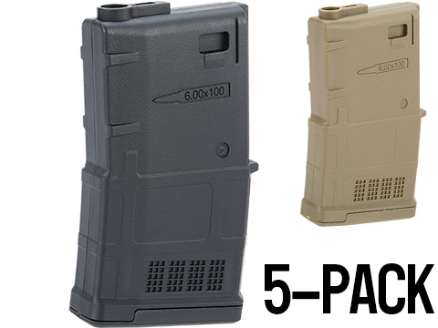 ARES AMAG 100rd Magazine M4 / M16 Mid Cap Magazine for AEG Rifles (Color: Black / 5 Pack)