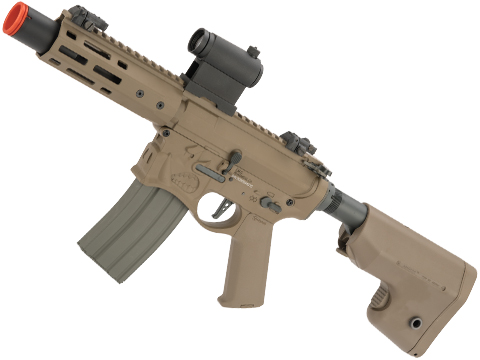 EMG / Sharps Bros Warthog Licensed Advanced M4 Airsoft AEG Rifle with Super High Torque Slim Motor Grip (Color: Tan / 7 SBR)