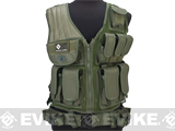 GxG Tactical Airsoft Vest w/ Tactical Belt & Holster - OD Green