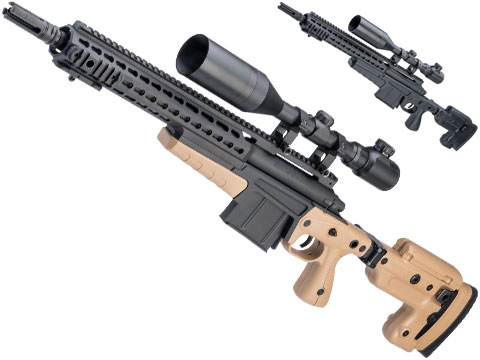 ASG Accuracy International Licensed MK13 Compact Airsoft Sniper Rifle w/ KeySLOT Chassis (Color: Desert)