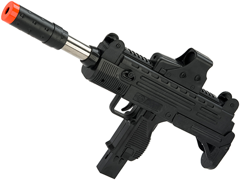 JG Polymer Single Shot Airsoft Spring Gun Armory Series (Model: Pump-Action UZI Machine Pistol with Barrel Extension)