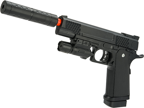 JG Polymer Single Shot Airsoft Spring Gun Armory Series (Model: 5.1 Hi-CAPA Pistol with Barrel Extension)