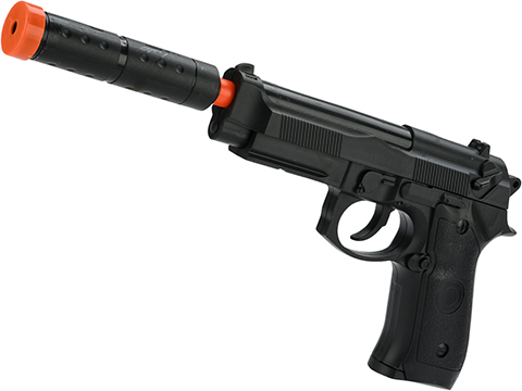 JG Polymer Single Shot Airsoft Spring Gun Armory Series (Model: 3/4 Scale M9 Pistol with Barrel Extension)