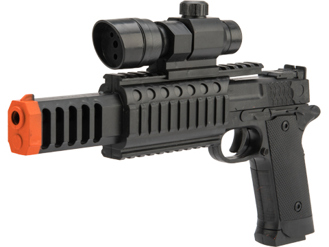 JG Polymer Single Shot Airsoft Spring Gun Armory Series - Limit One Per Order (Model: 716 Mini Pistol w/ Laser Sight)