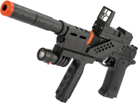 JG Polymer Single Shot Airsoft Spring Gun Armory Series (Model: 716 Mini Pistol w/ Strobing Flashlight)
