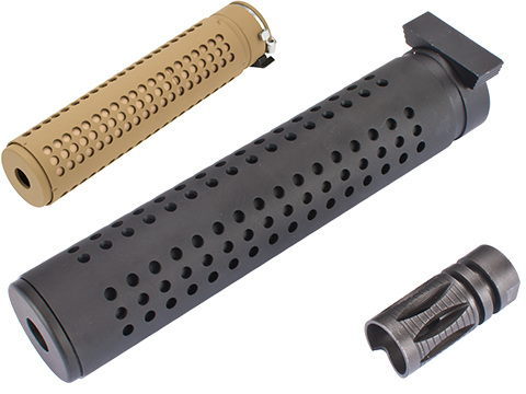 Avengers QD Mock Silencer for 14mm Negative Airsoft AEG Rifles (Color: Tan)
