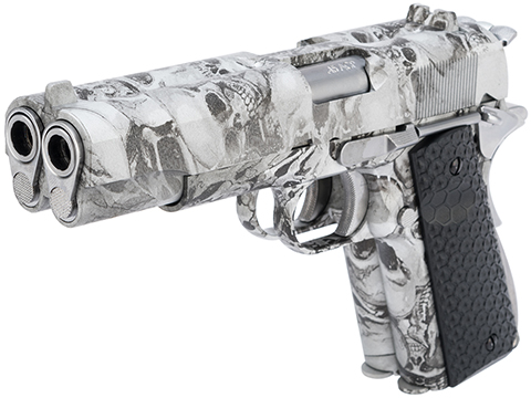 AW Custom Double Barreled 1911 Airsoft Gas Blowback Pistol (Color: SkullCam)