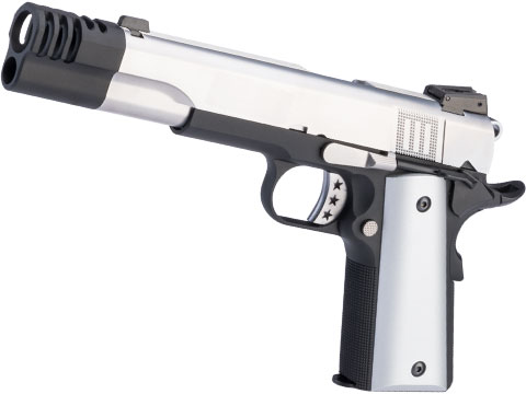 AW Custom NE31 Hitman Series 1911 Gas Blowback Pistol w/ Muzzle Compensator (Color: Silver / Two Tone)