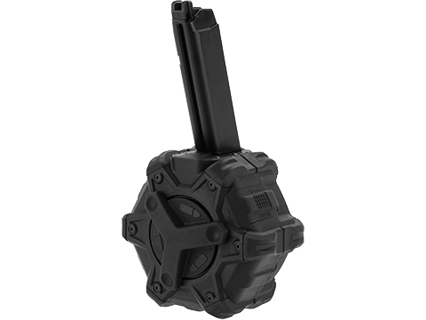 AW Custom Drum Magazine for Gas Blowback Airsoft Pistols & Rifles (Type: SAI BLU / TM G-Series / Elite Force GLOCK / Black)