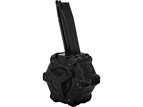AW Custom Drum Magazine for Gas Blowback Airsoft Pistols & Rifles (Type: TM Hi-Capa / Black)