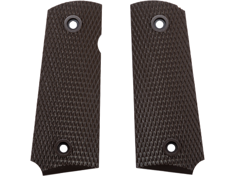 AW Custom NE Series Grip Panel Set for Short 1911 Series Airsoft GBB Pistols (Style: Brown / Diamond Pattern)