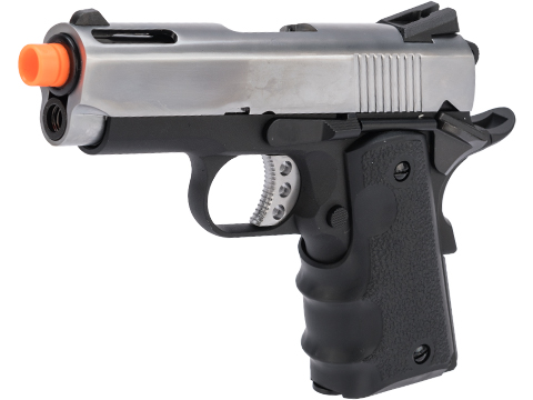 AW Custom NE10 Series 1911 Officer Size GBB Pistol (Color: Silver Slide / Black Frame)