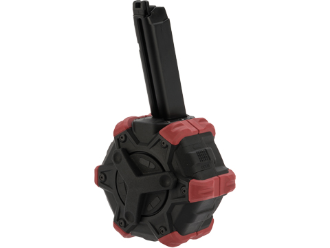 AW Custom Drum Magazine for Gas Blowback Airsoft Pistols & Rifles (Type: SAI BLU / Elite Force GLOCK / Red)