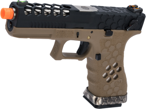 AW Custom VX0200 Series Hex-Cut Full Auto Capable Gas Blowback Airsoft Pistol (Color: Tan Frame / Black Slide)