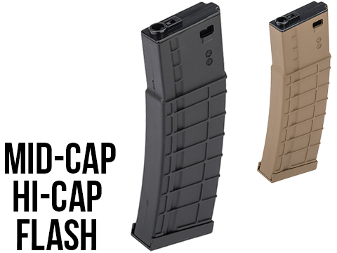 Avengers Ribbed Polymer Extended Magazine for M4/M16 Series Airsoft AEG Rifles (Color: Black / 200rd Mid-Cap)