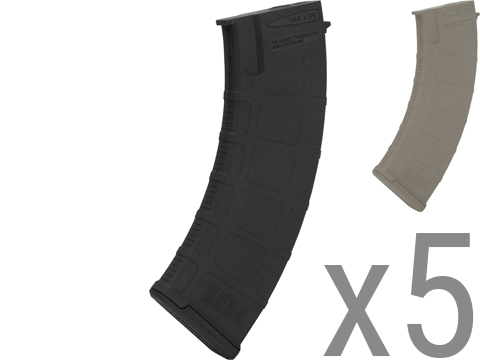 Beta Project DLS 180 Round Polymer Midcap Magazines for Airsoft AK Series AEGs - Set of 5