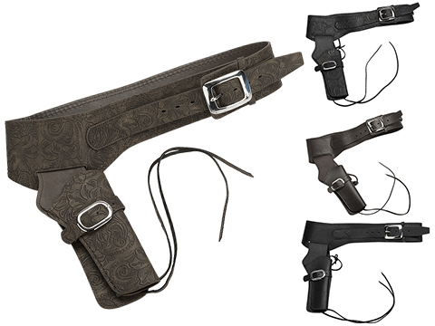 Gun Heaven Leather Single Gun Pistol Rig for Single Action Army Style Revolvers (Style: Patterned / Brown)