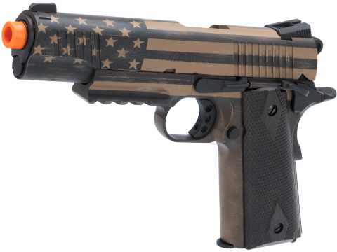 Colt Licensed 1911 Tactical Full Metal CO2 Airsoft GBB Pistol by KWC w/ Black Sheep Arms Custom Cerakote (Color: Distressed Flag)