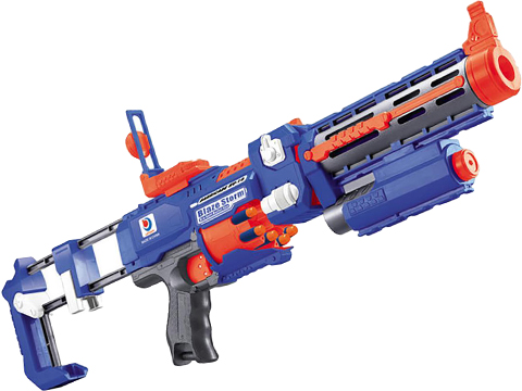 Blaze Storm Foam Blaster Full Auto Electric Foam Blaster Rifle with Drum Mag & Laser (Model: Blue)