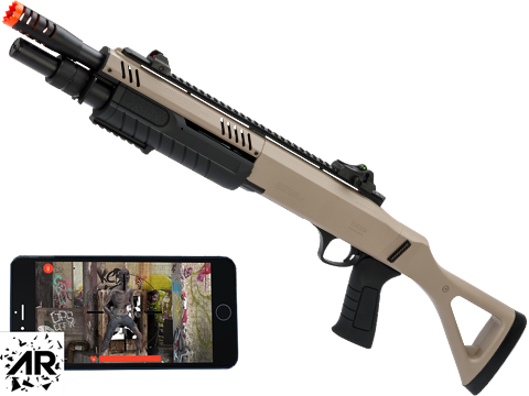 FABARM STF12 Pump Action Tri-Shot Airsoft Shotgun w/ Shooter-AR Mount (Model: Compact / Flat Dark Earth)