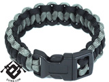 Evike.com Mil-Spec Survival Paracord Cobra Bracelet w/ QD Buckle - Black/Foliage 7""