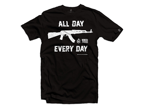 Black Rifle Division AK All Day Every Day Graphic Tee (Size: Large / Black)