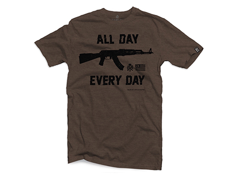Black Rifle Division AK All Day Every Day Graphic Tee (Size: Medium / Brown Heather)
