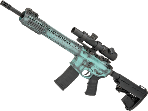 Custom Cerakote Finished Black Rain Ordnance BRO M4 SPEC15 Airsoft AEG by King Arms (Color: Battle Worn Tiffany / Recon)