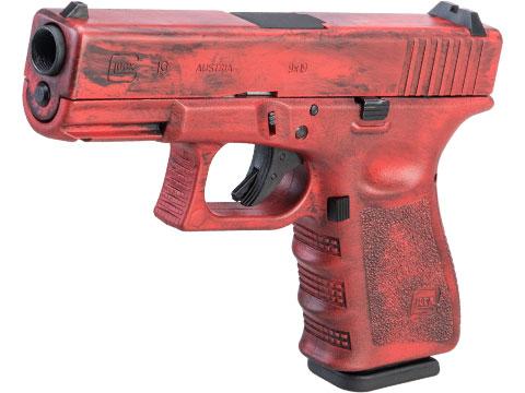 Elite Force Fully Licensed GLOCK 19 Gen.3 Gas Blowback Airsoft Pistol w/ Black Sheep Arms Custom Cerakote (Color: Red Distressed)