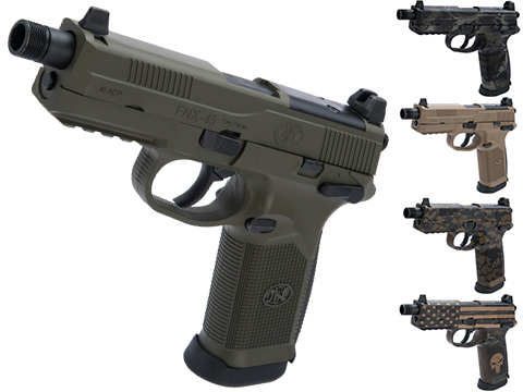 FN Herstal FNX-45 Tactical Airsoft Gas Blowback Pistol by Cybergun w/ Black Sheep Arms Custom Cerakote