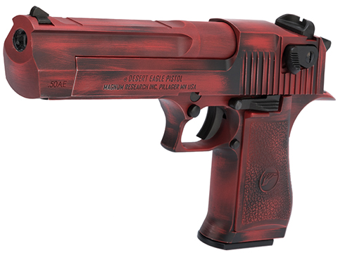 WE-Tech Desert Eagle .50 AE GBB Airsoft Pistol by Cybergun w/ Black Sheep Arms Custom Cerakote (Color: Distressed Red)