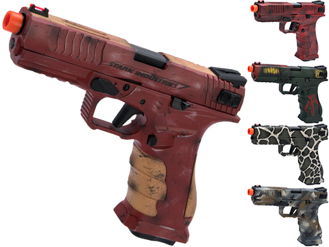APS XTP Shark Full Automatic Select-Fire Co2 GBB Airsoft Pistol w/ Black Sheep Arms Custom Cerakote (Color: Iron Man)