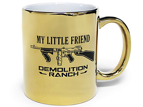 Bunker Branding Co. Demolition Ranch My Little Friend Gold Tommy Gun Coffee Mug