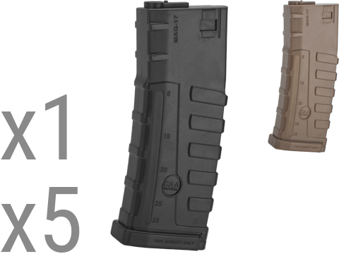 Command Arms CAA Licensed 140rd Mid-Cap Magazine for M4 M16 AEG by King Arms (Color: Black / Single Magazine)