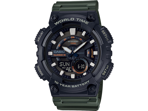 Casio Men's AEQ110W-3AV World Time Telememo Analog / Digital Watch (Color: Green)